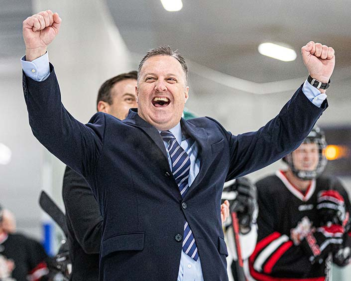 TORONTO, ON – JUN. 2, 2019: Coaching staff with Canadian Forces College celebrate a shootout goal.