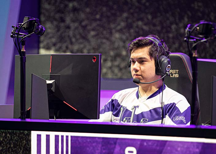 LOS ANGELES - MAY 25, 2019: Alex 'Gorica' Gorica of Western University smiles during a quarter-final match against Michigan State at the 2019 College League of Legends Championship.