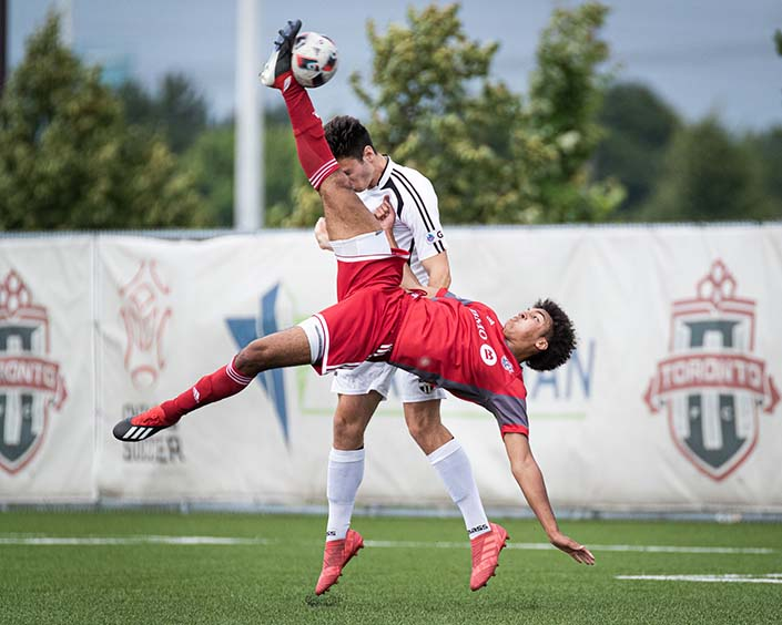 TORONTO, ON - JUL. 13, 2019: Tyrone Mulder of Windsor TFC scores a bicycle kick goal against Ottawa South United in League1 Ontario action.