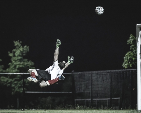 Sport Photography – Ball Strikes the Top Corner