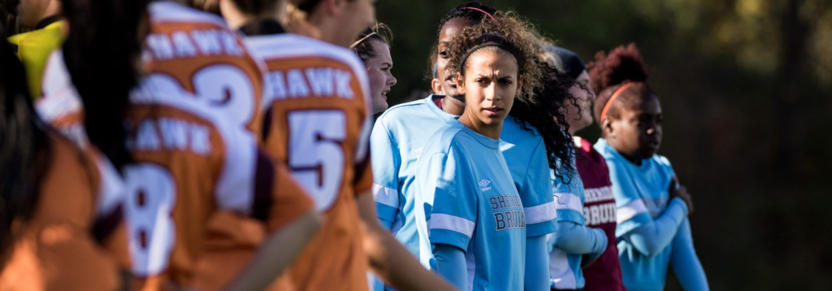 OAKVILLE, ON - Oct. 22, 2016: A Sheridan player stares down her opponents.