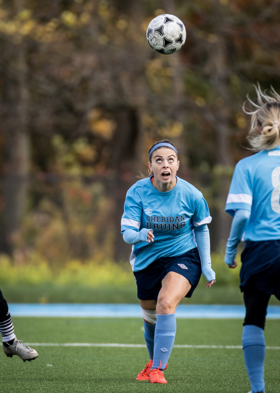 OAKVILLE, ON - Oct. 22, 2016: A Sheridan Bruins player prepares to head the ball.