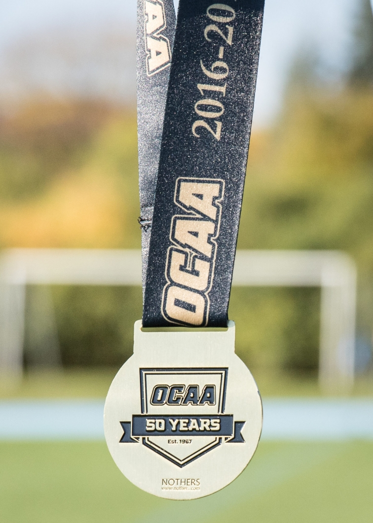 OAKVILLE, ON - Nov. 5, 2016: One of the medals to be presented at the inaugural OCAA Women's Rugby Sevens Championship.