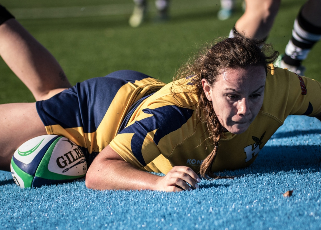 OAKVILLE, ON - Nov. 5, 2016: Humber players attempt to rip the ball from a Conestoga attacker at the inaugural OCAA Women's Rugby Sevens Championship.