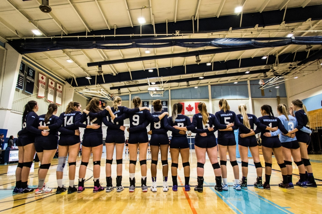 OAKVILLE, ON - Oct. 29, 2016: The Sheridan Bruins line up prior to a game against Fanshawe College.
