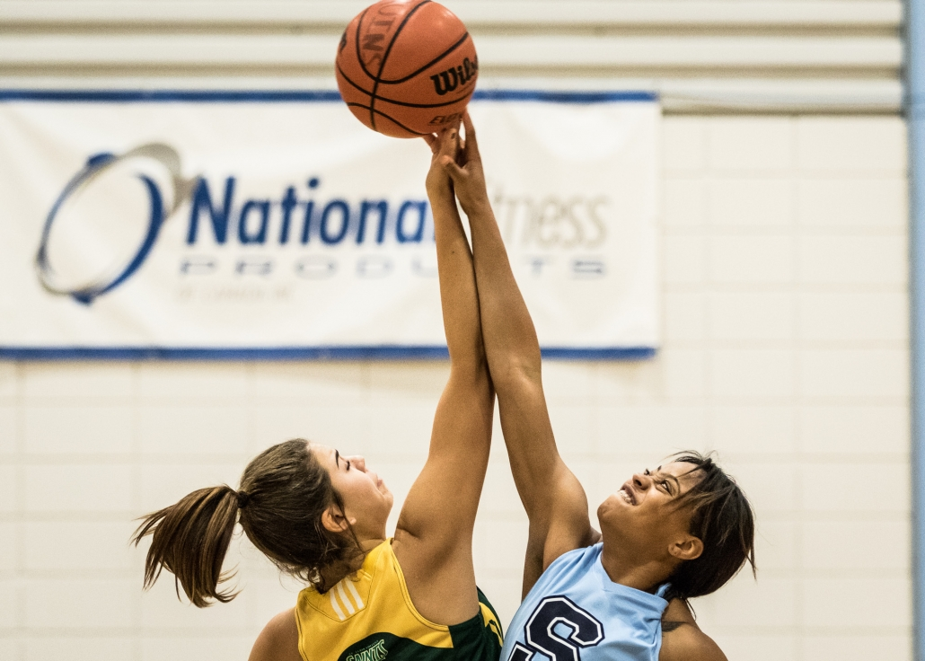 BRAMPTON, ON – Nov. 26, 2016: The Sheridan Bruins and St. Clair Saints tip off in OCAA women's basketball action.