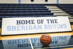 BRAMPTON, ON – NOV. 27, 2016: A ball sits on the Sheridan Bruins court prior to OCAA women's basketball action.