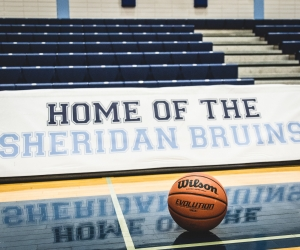 BRAMPTON, ON – NOV. 27, 2016: A ball sits on the Sheridan Bruins court prior to OCAA women's basketball action.