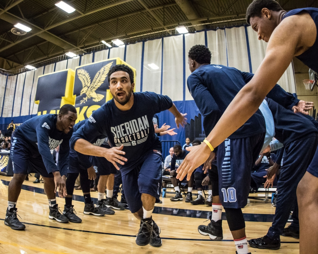 TORONTO, ON – Nov. 12, 2016: Dylan Periana of the Sheridan Bruins takes the court in OCAA regular season action against the Humber Hawks.