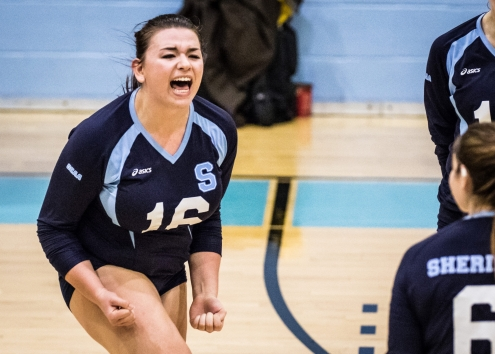 OAKVILLE, ON - Oct. 29, 2016: Tara Aune of the Sheridan Bruins celebrates after a set win against Fanshawe College.