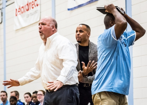 BRAMPTON, ON - Jan. 11, 2017: The Sheridan Bruins coaching staff react to a late-game refereeing decision against Fanshawe College in OCAA action.