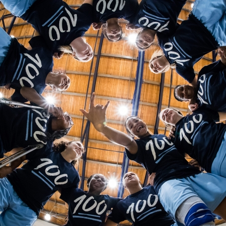 BRAMPTON, ON - Feb. 4, 2017: The Sheridan Bruins huddle prior to a game against the Humber Hawks.