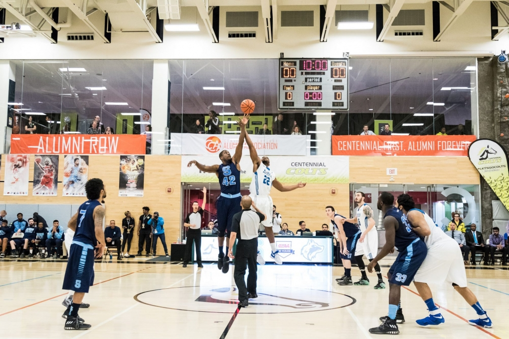 TORONTO, ON – Mar. 4, 2017: The Sheridan Bruins and George Brown Huskies tip-off the finals of the 2017 OCAA Men's Basketball Championship.
