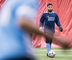 HAMILTON, ON – Mar. 10, 2017: Sheridan Bruins vs. Redeemer Royals indoor soccer game action.