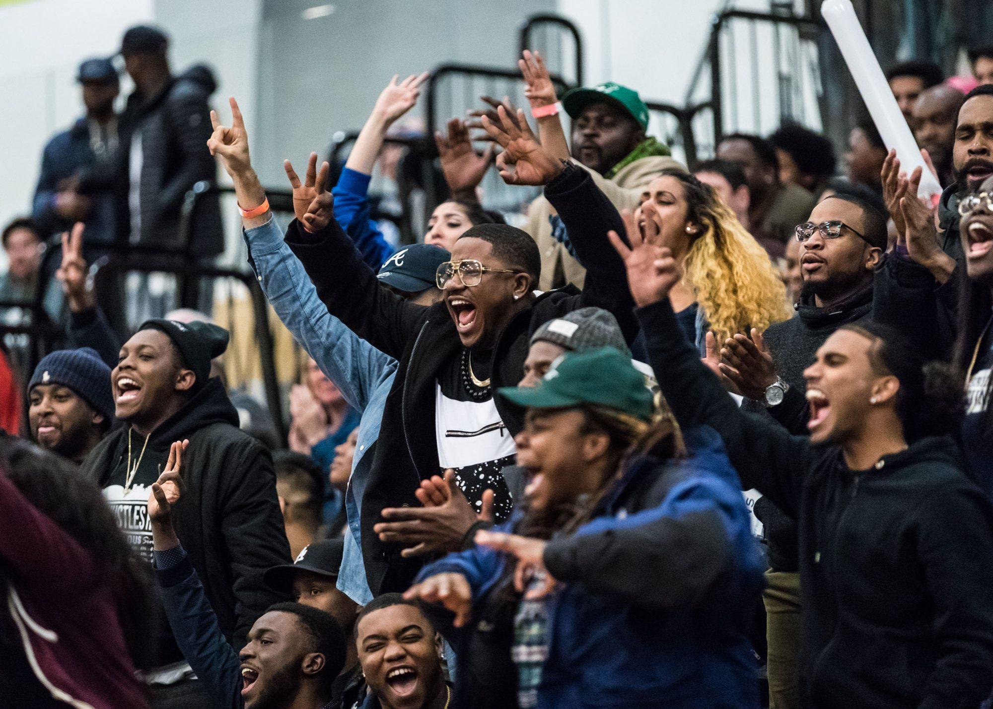 TORONTO, ON – Mar. 3, 2017: Fans react after the Sheridan Bruins hit a deep three-point shot.