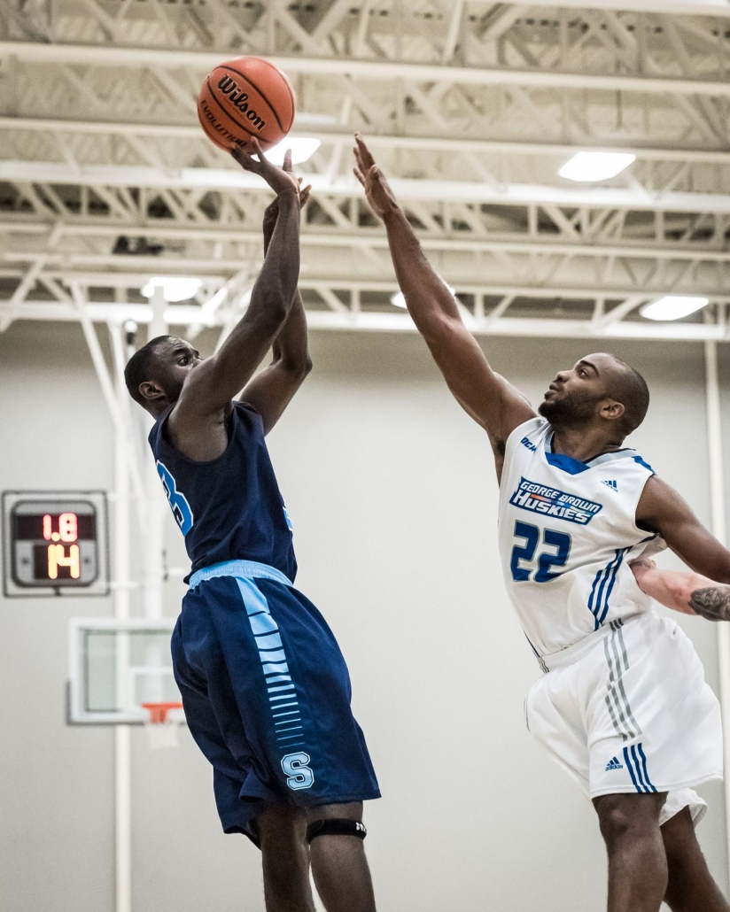 TORONTO, ON – Mar. 4, 2017: Brian Owusu releases the championship-winning shot for the Sheridan Bruins.