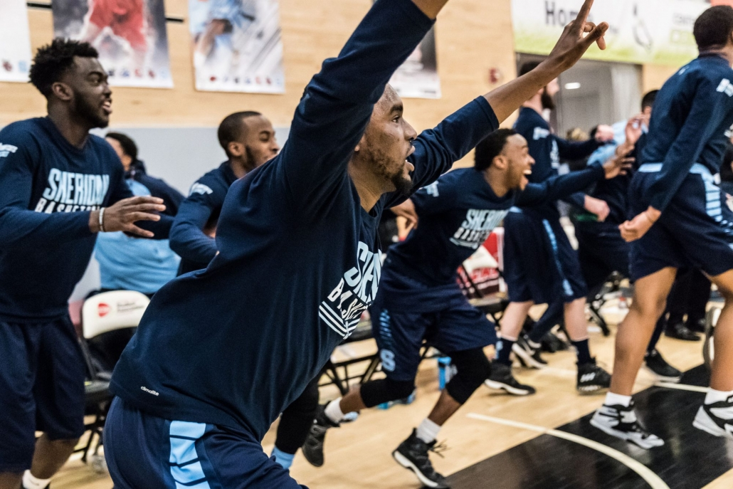 TORONTO, ON – Mar. 4, 2017: The Sheridan Bruins clear the bench after winning the 2017 OCAA Men's Basketball Championship.