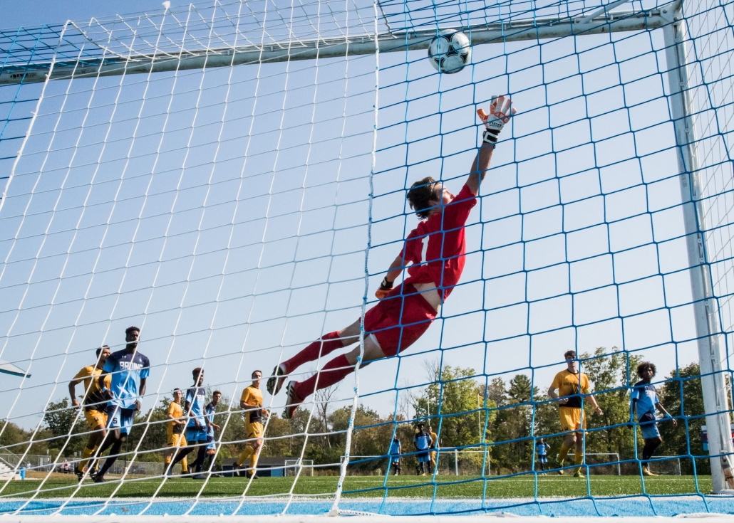 OAKVILLE, ON – SEP. 24, 2017: Ontario Colleges Athletic Association game between the Sheridan Bruins and the Cambrian Golden Shield.