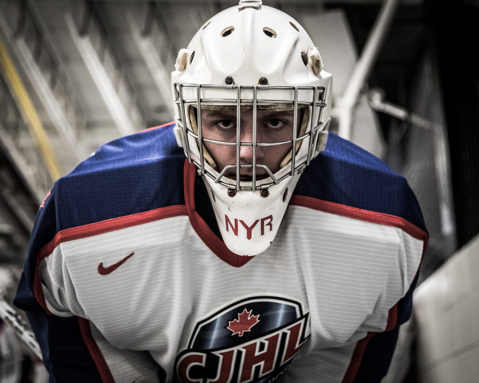 MISSISSAUGA, ON - JAN. 23, 2018: Jett Alexander of CJHL Prospect Team East looks down prior to pre-game warm-ups.
