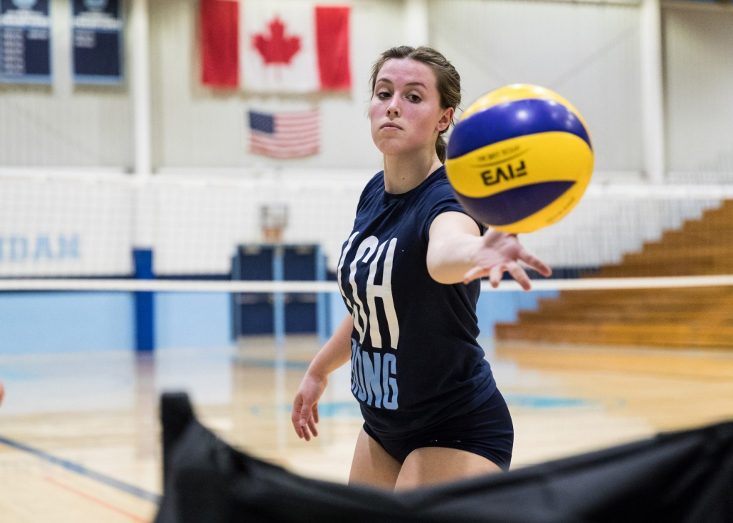 Ontario Colleges Athletic Association women's volleyball game between the Sheridan Bruins and the Seneca Sting