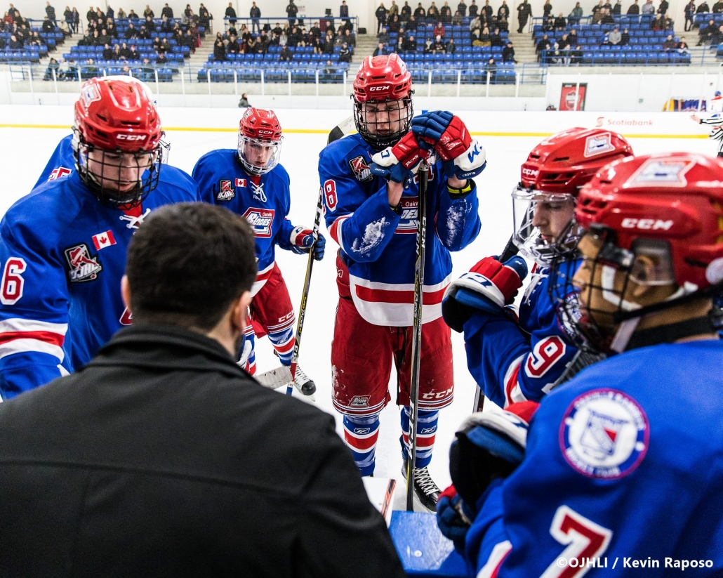 Ontario Junior Hockey League, post-season first round. Game six of the best of seven series between the Oakville Blades and Toronto Jr. Canadiens