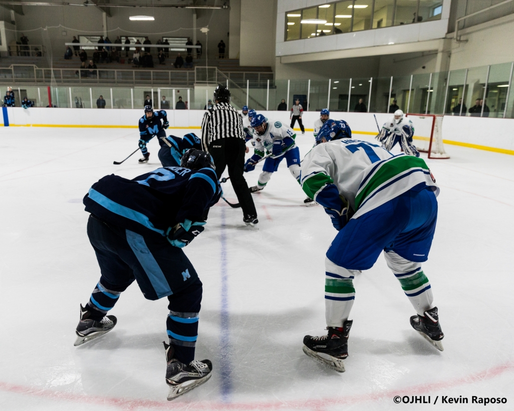 Sports Photography – OJHL (Ontario Junior Hockey League) Men's Hockey, St. Michael's Buzzers vs. Burlington Cougars in Burlington, Ontario, Canada at Appleby Ice Centre