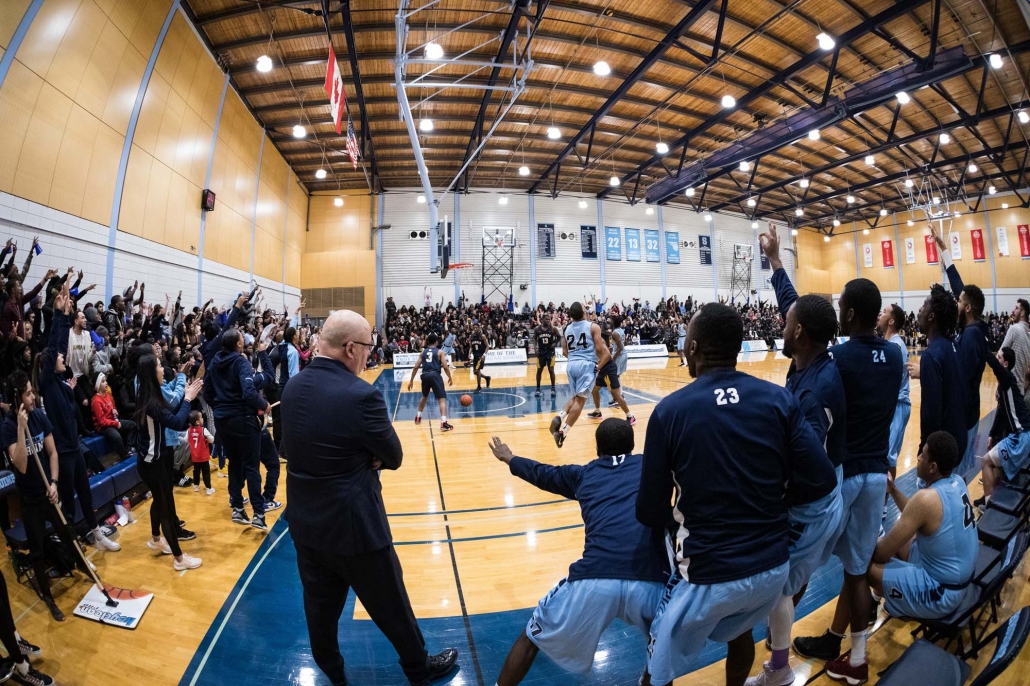 Sports Photography – OCAA (Ontario Colleges Athletic Association) Women's and Men's Basketball, Sheridan Bruins vs. Humber Hawks in Brampton, Ontario, Canada at Sheridan College (Davis Campus)