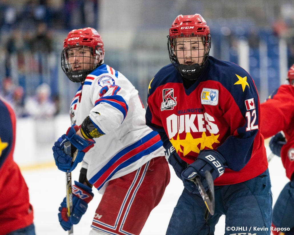 Sports Photography – OJHL (Ontario Junior Hockey League) Buckland Cup, Game #3, Men's Hockey, Marham Royals vs. Oakville Blades in Oakville, Ontario, Canada at Sixteen Mile Sports Complex