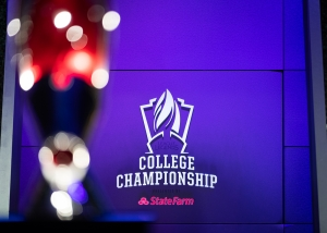 LOS ANGELES - MAY 24, 2019: The trophy sits centre stage during a semi-final match at the 2019 College League of Legends Championship.