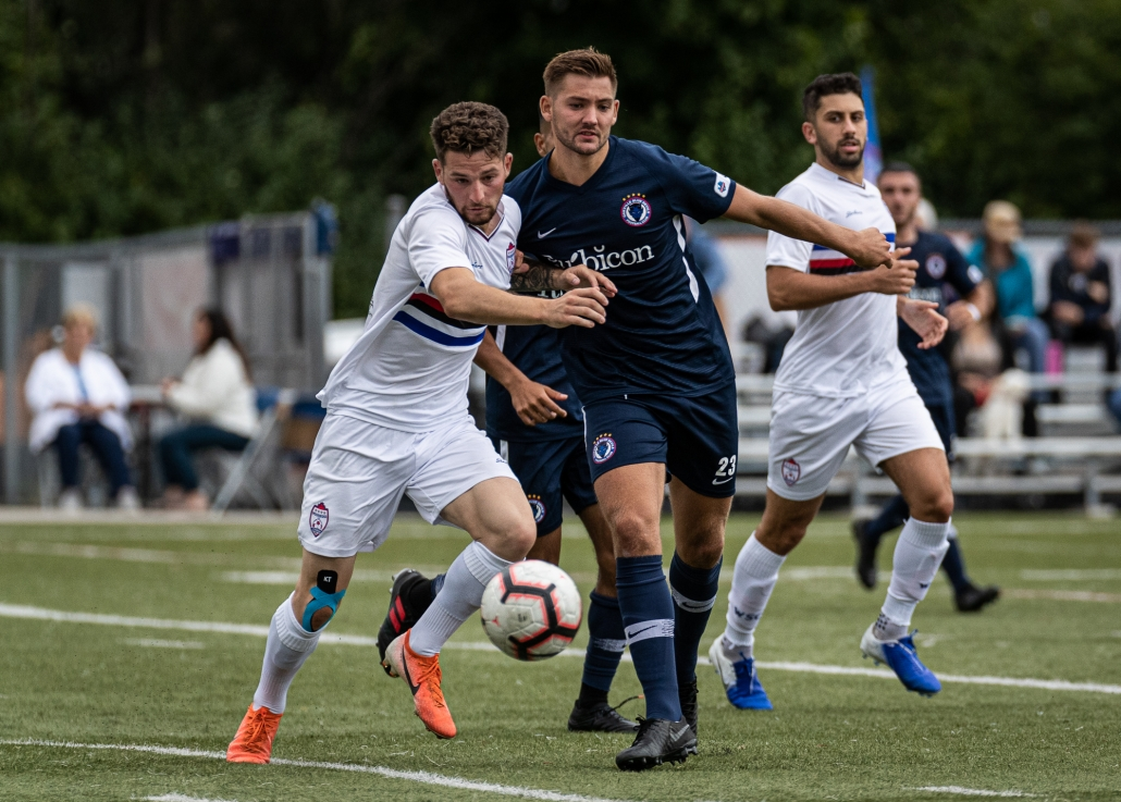 Sports Photography – League1 Ontario Playoffs, Men's Soccer, Woodbridge Strikers and Oakville Blue Devils in Oakville, Ontario, Canada at Bronte Athletic Park