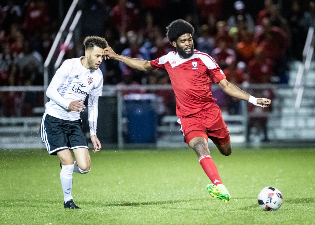 Sports Photography – League1 Ontario Championship Final, Men's Soccer, London FC and Masters FA in Vaughan, Ontario, Canada at Ontario Soccer Centre