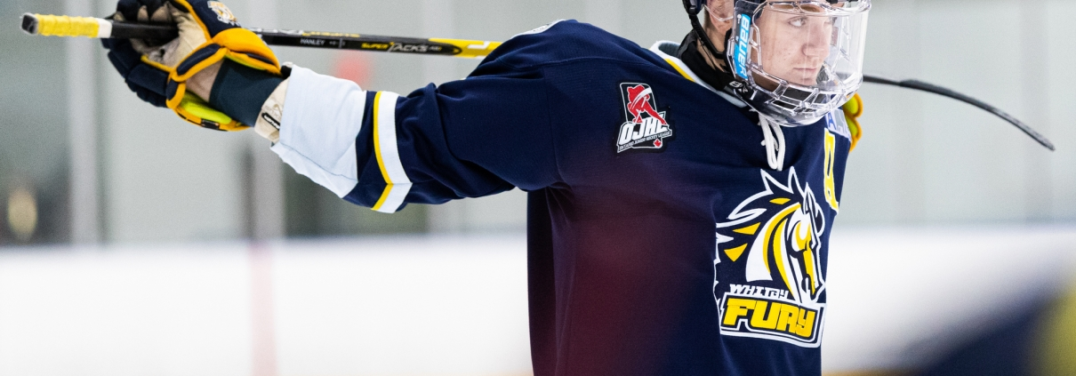 Sports Photography – Ontario Junior Hockey League, Regular Season, Men's Hockey, Whitby Fury and Toronto Jr. Canadiens in Toronto, Ontario, Canada at Scotiabank Pond