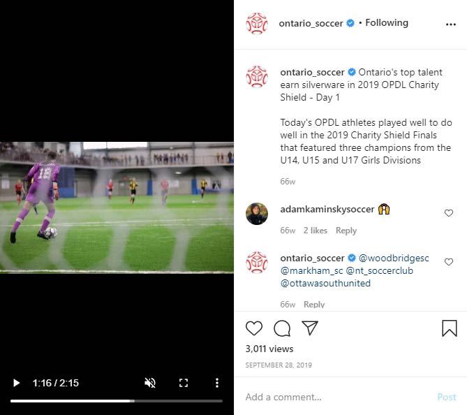 Ontario Soccer - Post on Social Media